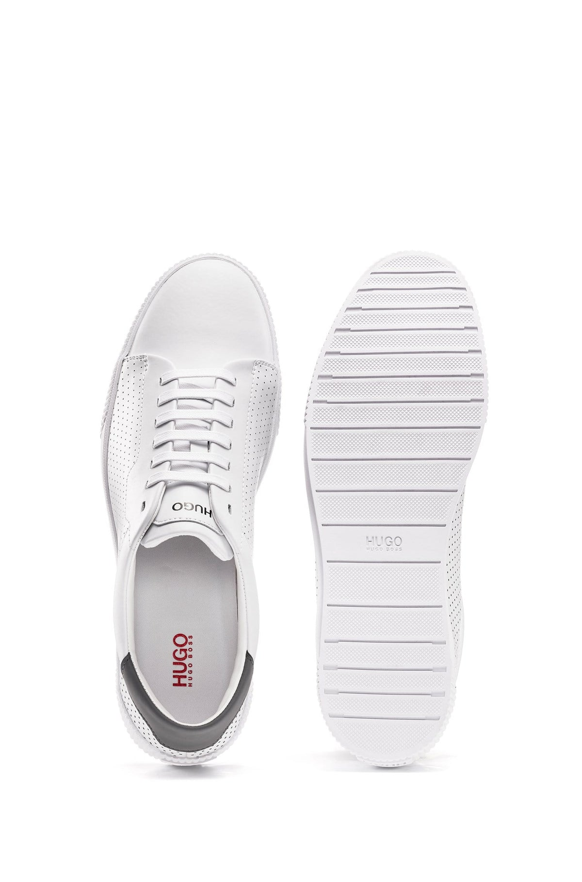 HUGO Lace-Up Trainers In Nappa Leather With Perforated Details