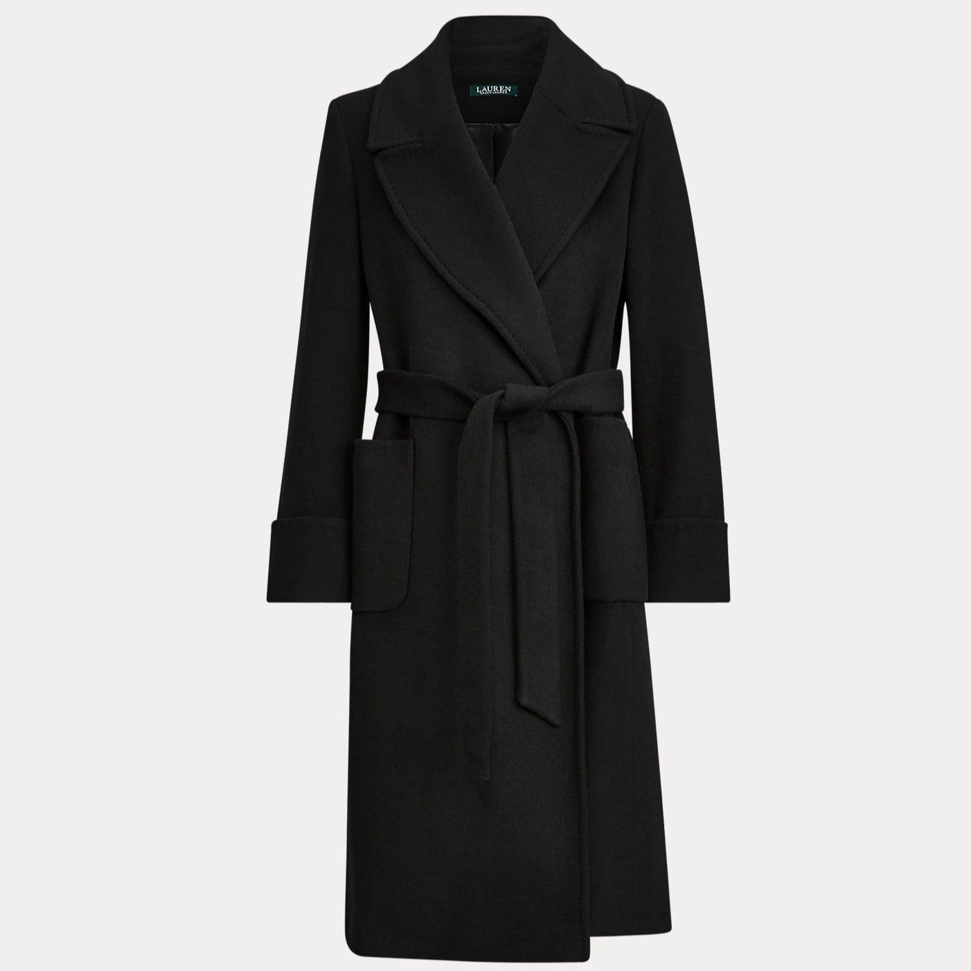 Lauren Ralph Lauren Black Wool-Blend Wrap Coat