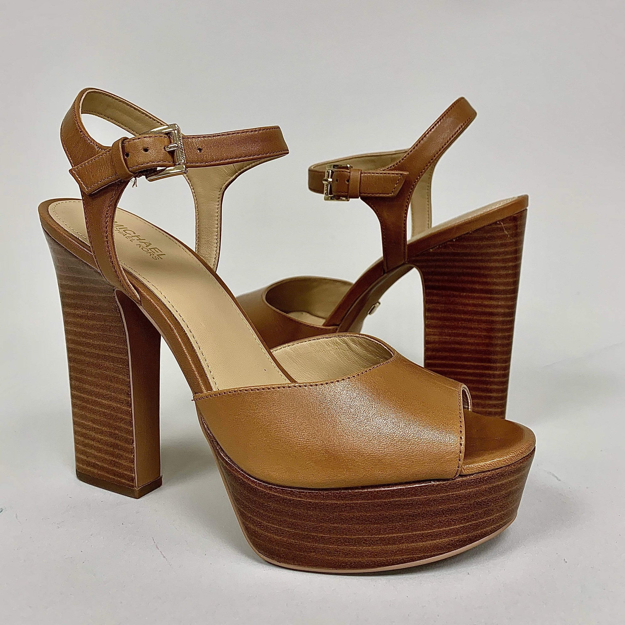 Michael Kors Ladies Bennett Platform Tan Heels