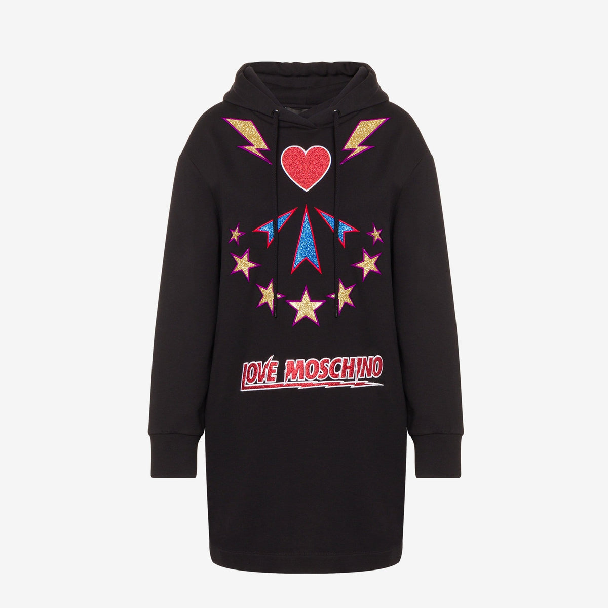 Love Moschino Ladies Sparkling Embroidery Jumper Dress