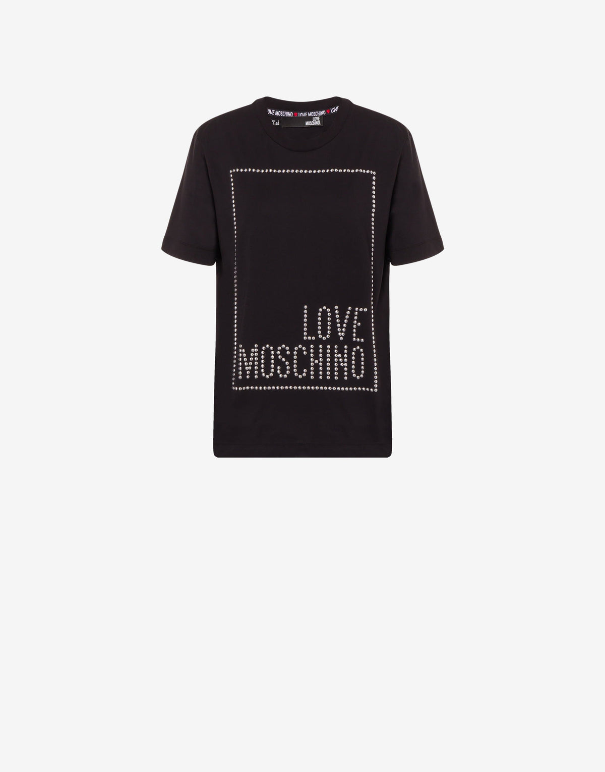 Love Moschino Ladies Black Jersey Square Logo T-Shirt