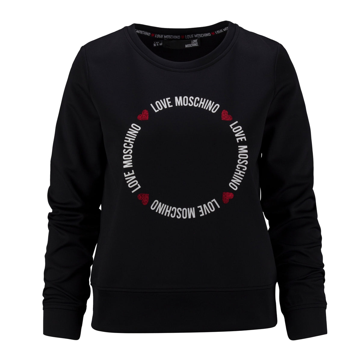 Love Moschino Ladies Round Lettering Interlock Sweatshirt