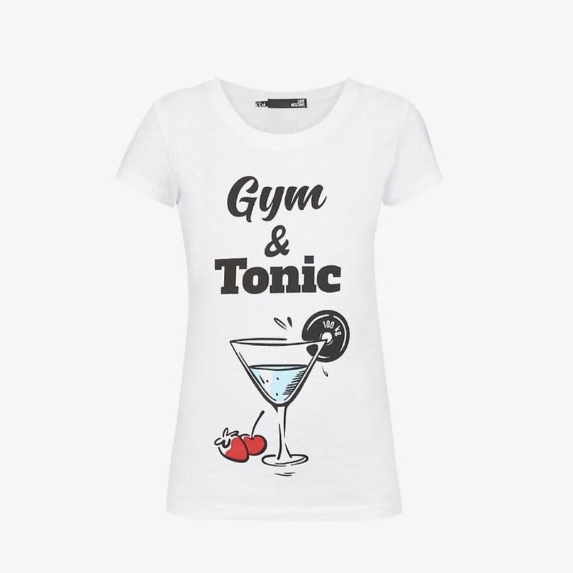 Love Moschino Ladies White Gym & Tonic T-Shirt