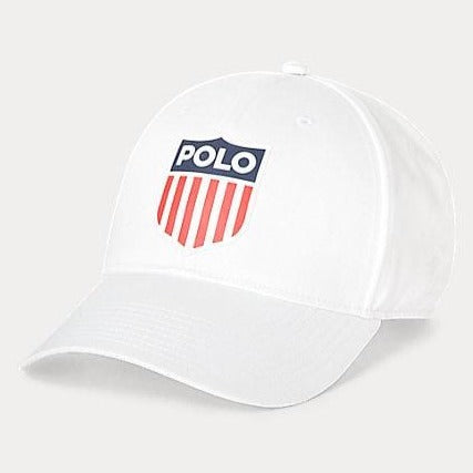 Ralph Lauren Gents Flag Shield White Baseball Cap
