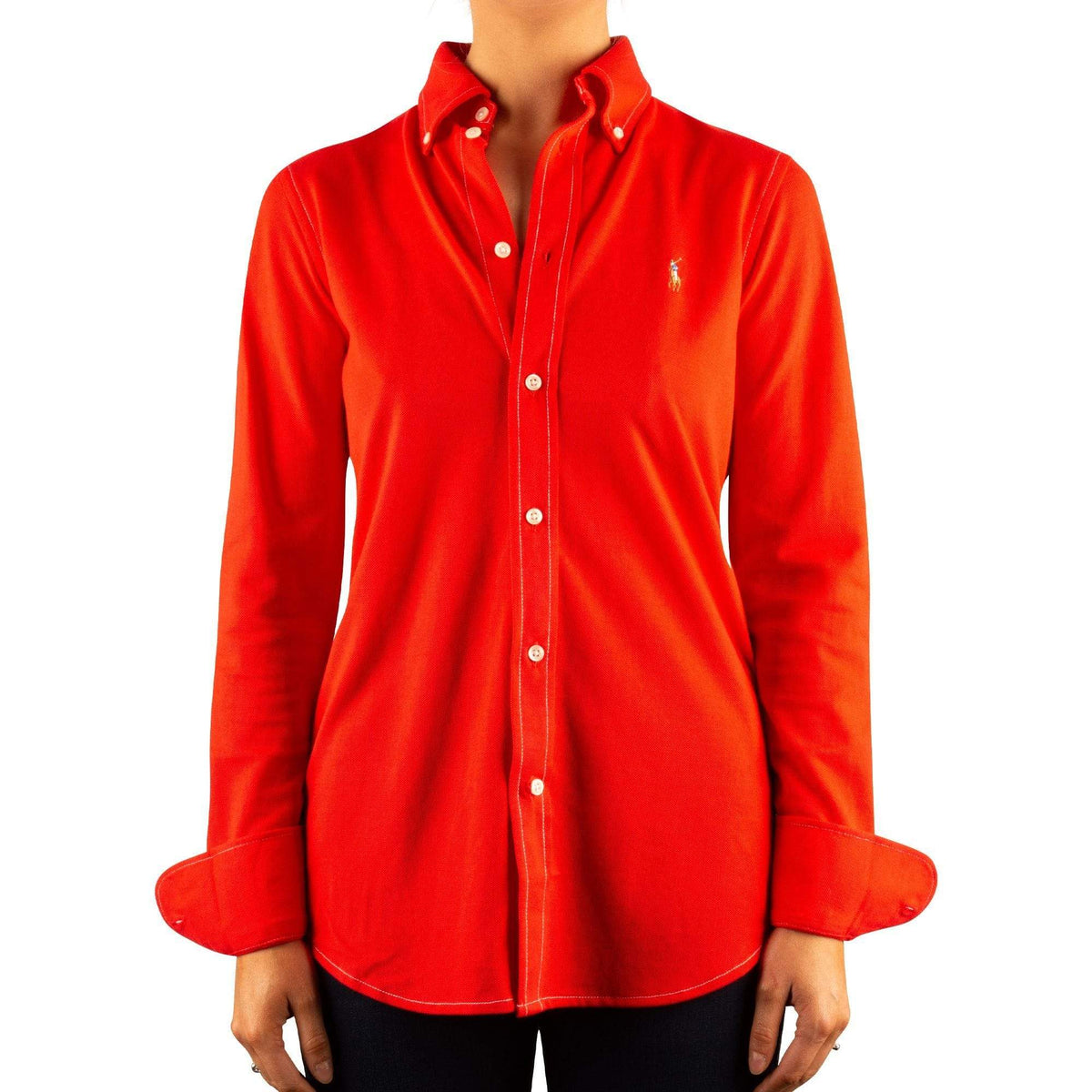 Ralph Lauren Ladies Cotton Knit Oxford Shirt In African Red