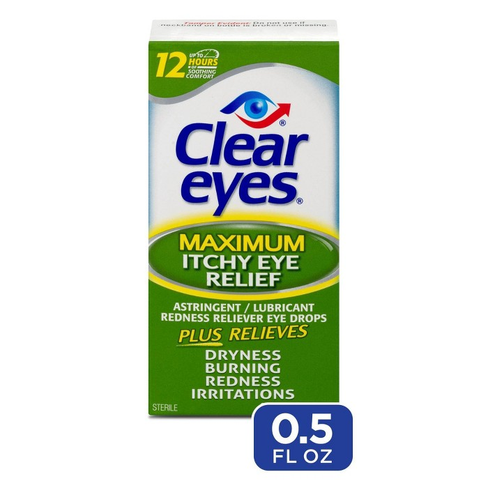 Clear Eyes Maximum Itchy Eye Relief Eye Drops Relieves Itchy Eyes - 0.5 fl oz