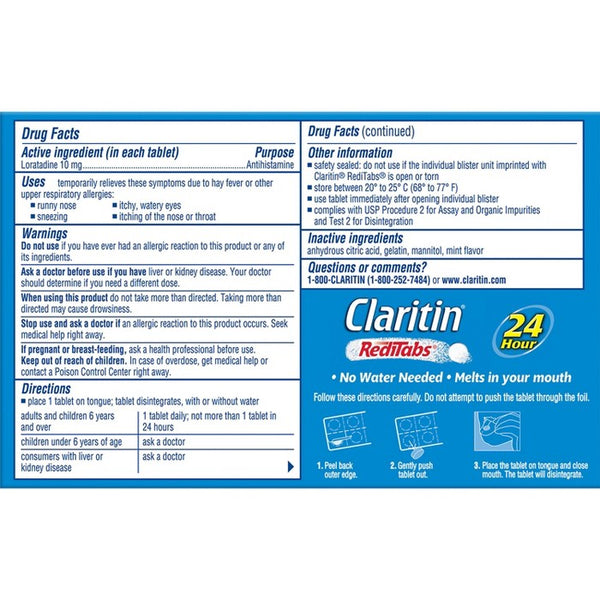 Claritin RediTabs 24 Hour Allergy Relief Dissolving Tablets - Loratadine - 30ct