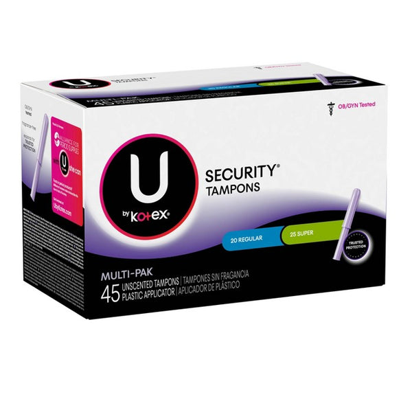 U By Kotex Security Multipack Tampons - Regular/Super - Plastic - 45ct
