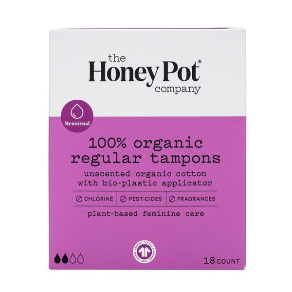 The Honey Pot Regular Organic Bio-Plastic Applicator Tampons - 18ct
