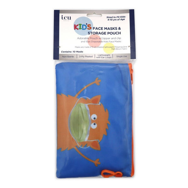 ICU Health Kids Masks with Monster Pouch - 10ct