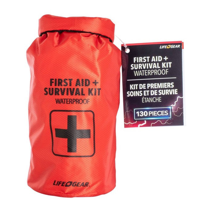 Life+Gear 130pc Waterproof Dry Bag First Aid + Survival Kit