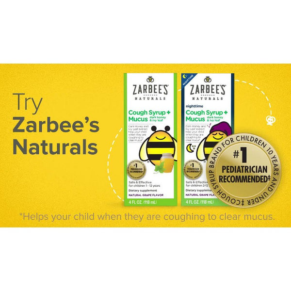 Zarbee's Naturals Children's Nighttime Cough Syrup & Mucus Reducer Liquid - Natural Grape - 4 fl oz