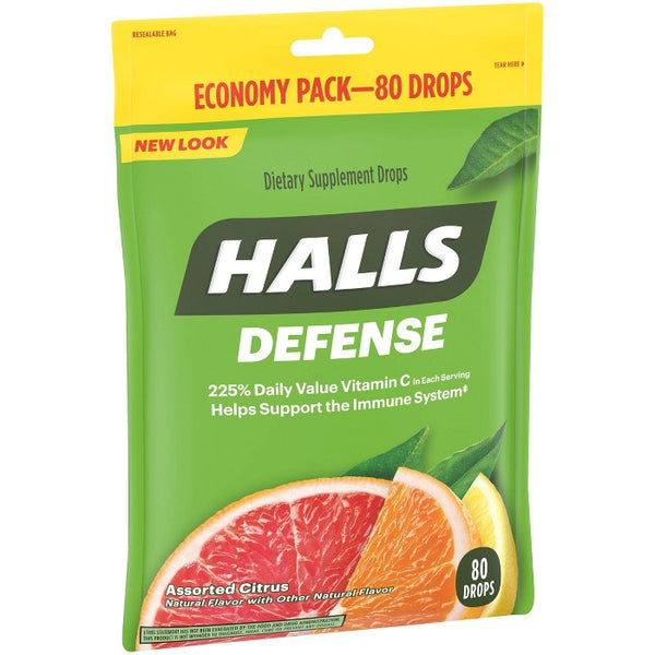 Halls Defense Vitamin C Drops - Orange, Lemon & Grapefruit - 80ct