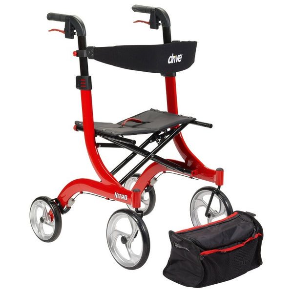 Drive Medical Nitro Euro Style Walker Rollator, Red