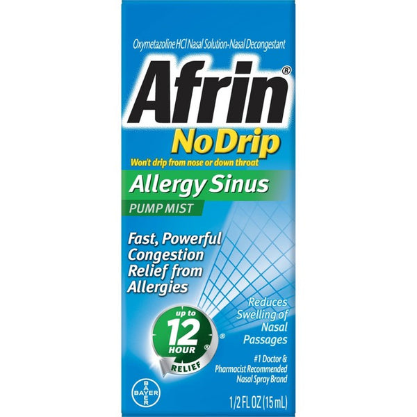 Afrin No Drip Allergy Sinus Nasal Decongestant Relief Pump Mist - 0.5 fl oz