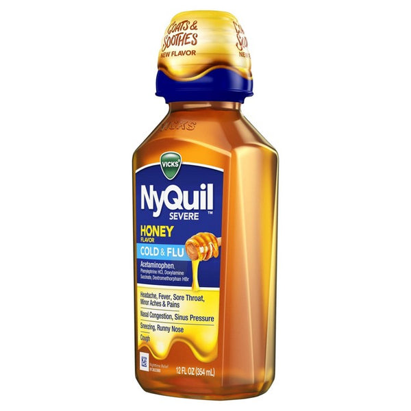 Vicks NyQuil Severe Cold & Flu - Honey - 12 fl oz