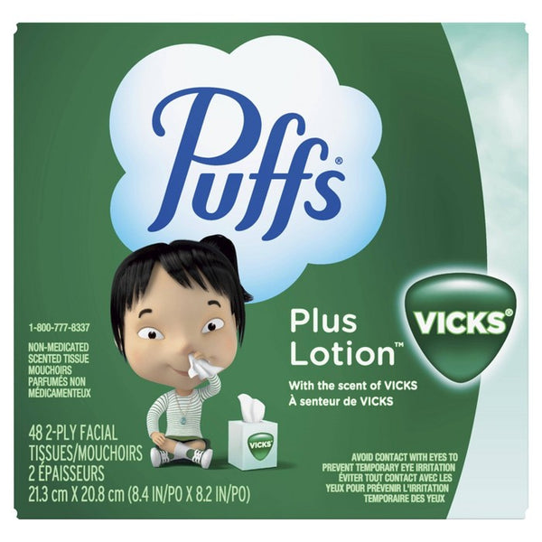 Puffs Plus Lotion With The Scent Of Vick's Facial Tissues 1 Cube Box - 48ct