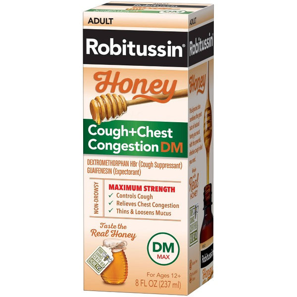Robitussin Cough + Chest Congestion DM MAX Relief Liquid - Dextromethorphan - Honey - 8 fl oz