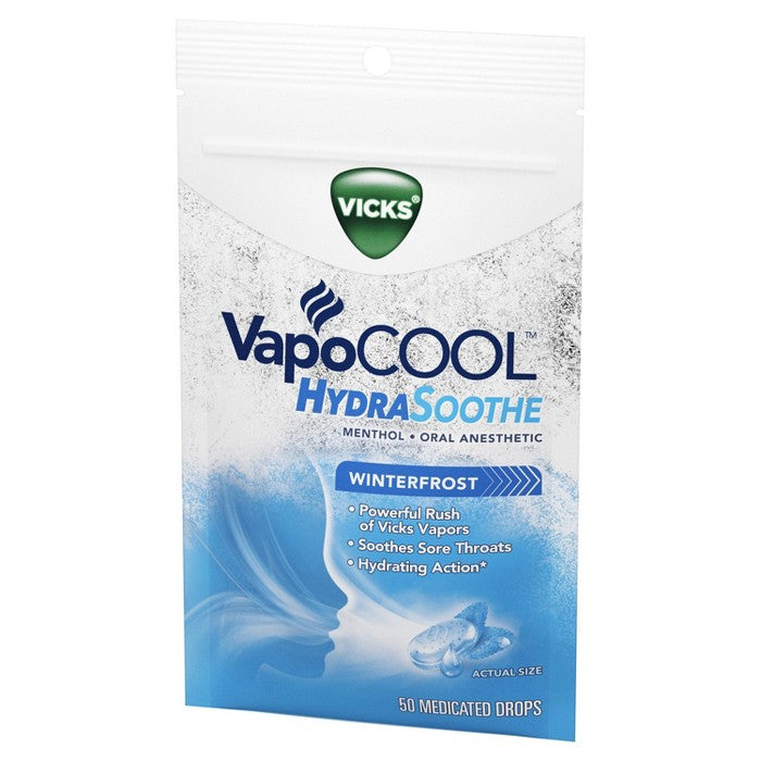 Vicks VapoCOOL HydraSoothe Medicated Throat Drops - Menthol - 50ct