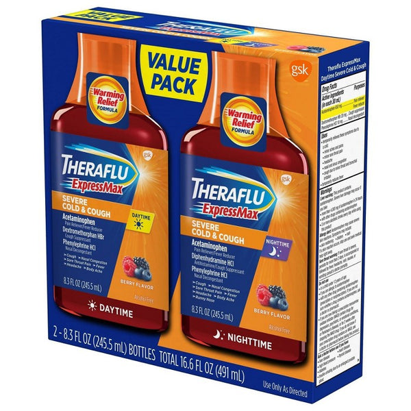 Theraflu ExpressMax Severe Cold & Cough Day/Night Relief Liquid - 8.3 fl oz/2ct