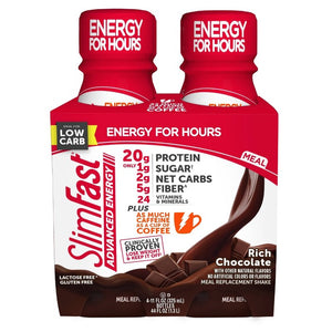SlimFast Advanced Energy High Protein Meal Replacement Shakes - Rich Chocolate - 11oz/4pk