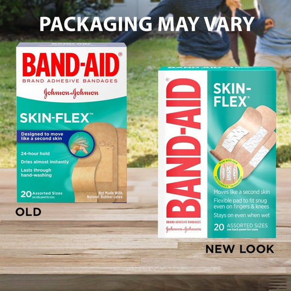 Band Aid Brand Skin-Flex Assorted Sizes Adhesive Bandages -20ct
