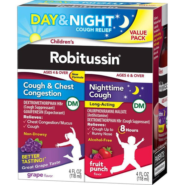 Children's Robitussin Day/Night Cough & Chest Congestion DM - Dextromethorphan - Grape & Fruit Punch Flavors - 4 fl oz/2pk