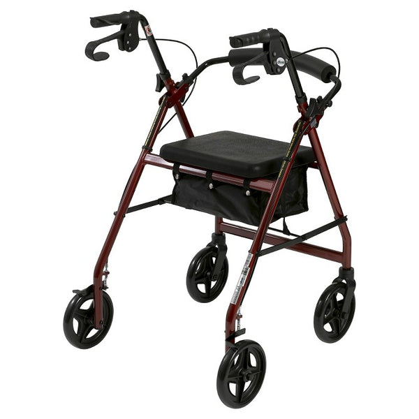 Drive Medical Aluminum Rollator with Fold Up and Removable Back Support and Padded Seat, Red