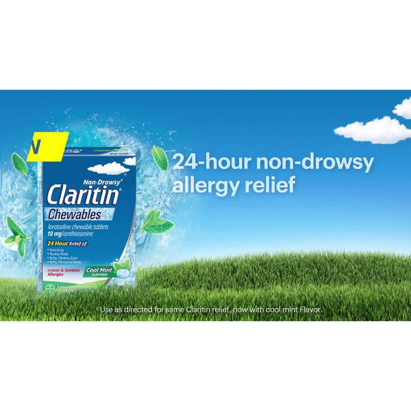 Claritin Loratadine Non-Drowsy Allergy Relief Chewables - Cool Mint - 24ct