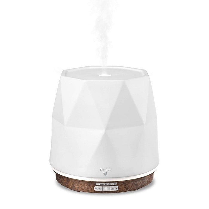 Sparia Stylish 300ml Ceramic Ultrasonic Aromatherapy Electric Essential Oils Diffuser, Matte White with Wood Grain Pattern Base