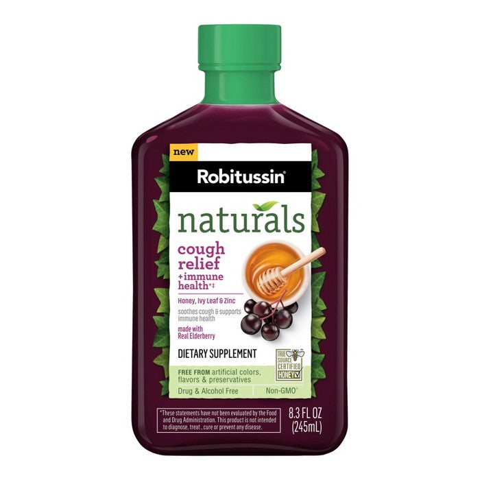 Robitussin Naturals Cough Relief & Immune Health Syrup - Honey, Ivy Leaf & Zinc with Real Elderberry - 8.3 fl oz