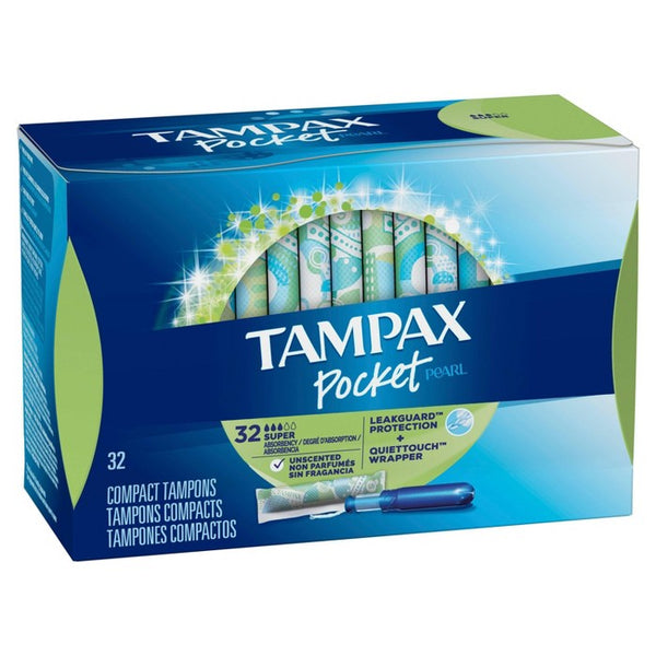 Tampax Pocket Pearl Super Absorbency with LeakGuard Braid & Unscented Plastic Tampons - 32ct