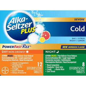 Alka-Seltzer Plus NSAID Cold Day/Night Pack PowerFast Fizz Tablets - Citrus Lemon - 20ct