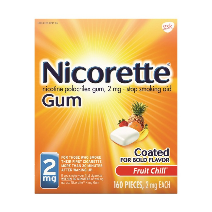 Nicorette 2mg Gum Stop Smoking Aid - Fruit Chill