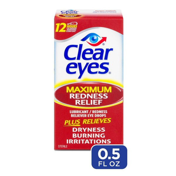 Clear Eyes Maximum Strength Redness Relief Eye Drops Red Eye Relief - 0.5 fl oz