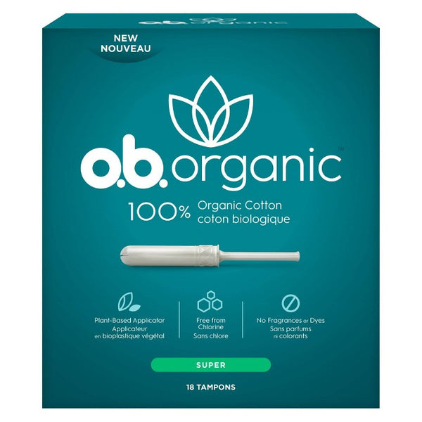 o.b. Organic Tampons - Plant-Based Applicator - Unscented - Super - 18ct