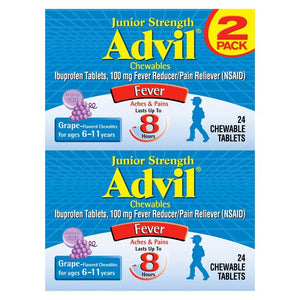 Advil Junior Strength Pain Reliever/Fever Reducer Chewable Tablets - Ibuprofen (NSAID) - Grape Flavor - 24ct/2pk