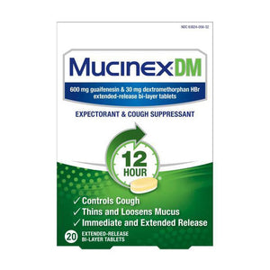 Mucinex DM Expectorant & Cough Suppressant Tablets - Guaifenesin - 20ct