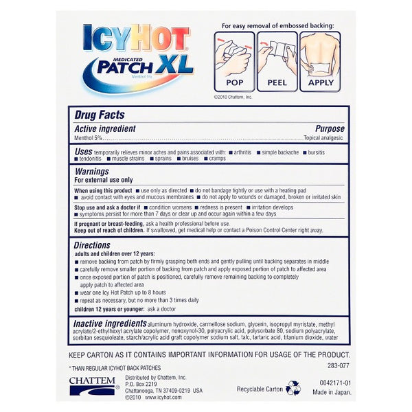 IcyHot Medicated Patch Back - Extra Large
