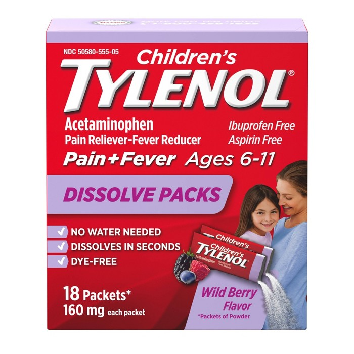 Children's Tylenol Pain Reliever and Fever Reducer Powder Pack - Acetaminophen - Wild Berry Flavor - 18ct