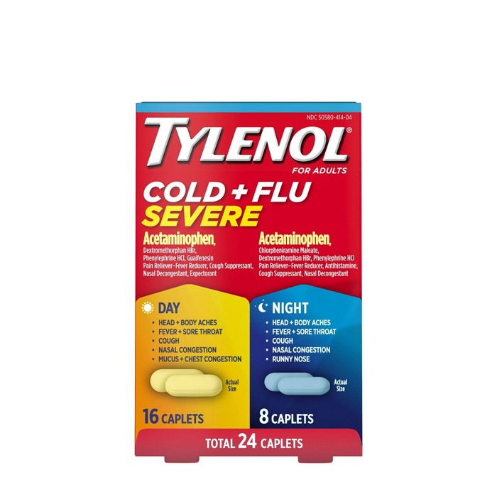 Tylenol Cold+Flu Severe Day/Night Caplets - Acetaminophen - 24ct