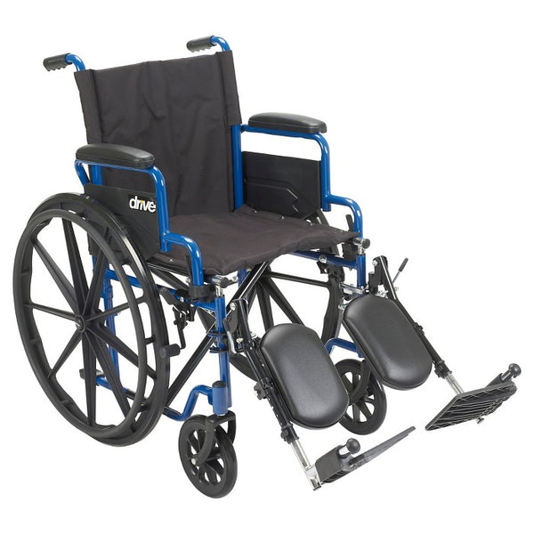 "Drive Medical Blue Streak Wheelchair with Flip Back Desk Arms, Elevating Leg Rests, 20"" Seat"