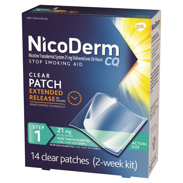 NicoDerm CQ Stop Smoking Aid Clear Patches Step 1 - 14ct