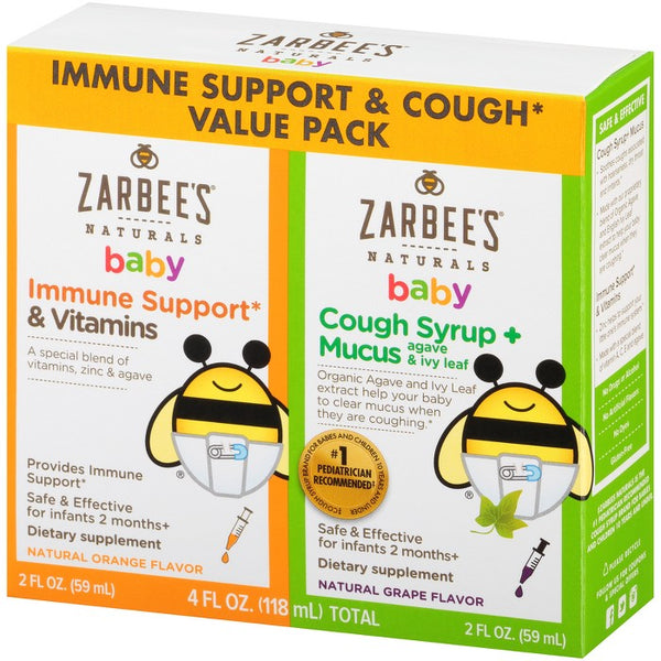 Zarbee's Naturals Baby Immune Support & Cough Syrup/Mucus Reducer Value Pack - Orange & Grape - 2 fl oz/2pk