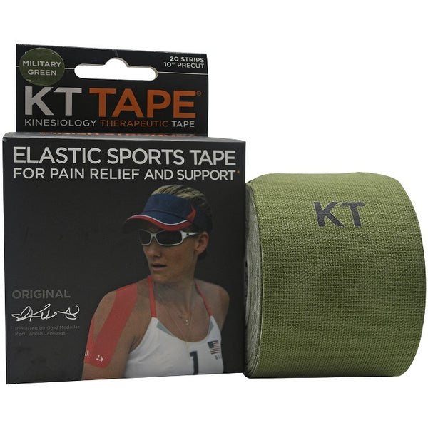 "KT Tape x Forza Sports Cotton 10"" Precut Sports Tape, 20 Strips, Military Green"