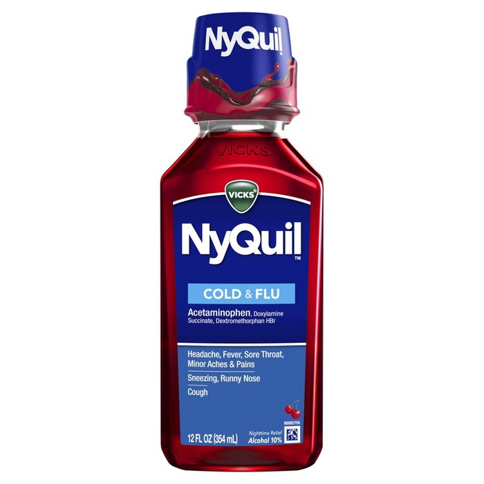 Vicks NyQuil Cold & Flu Relief Liquid - Acetaminophen - Cherry - 12 fl oz