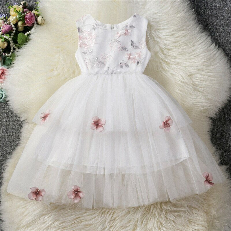 6M-5Y Kids Baby Girl Formal Embroidery Dress 3D