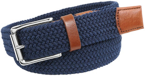 Florsheim Men's Koufax Elastic Woven Casual 35mm Belt, navy, 44