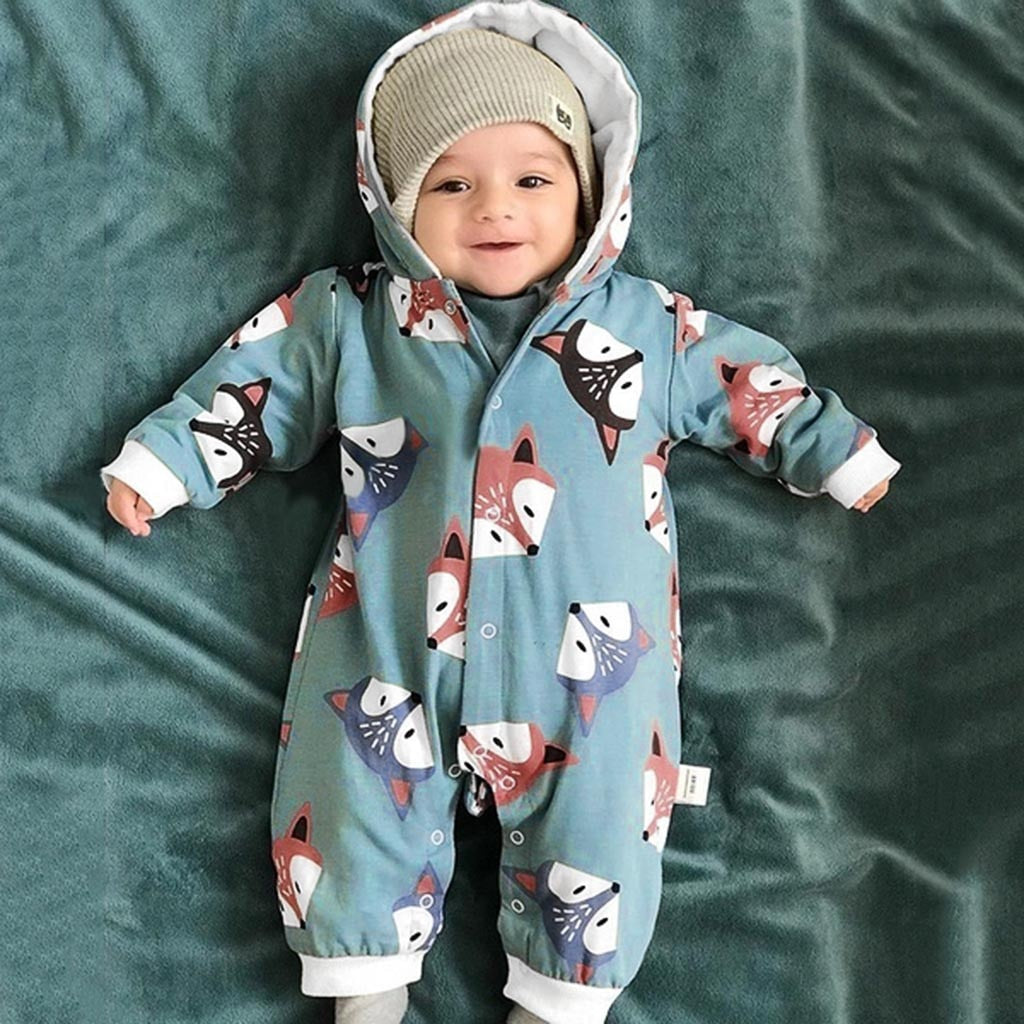 Baby Clothes Cartoon Hooded Romper For Newborn