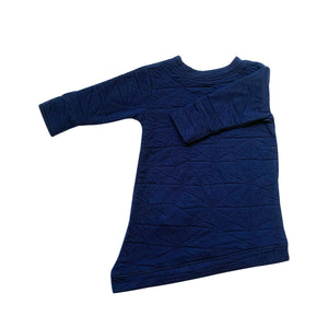 Asymmetric Dress - Quilted Deep Blue